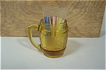 Amber Glass Mug Shaped Toothpick Holder