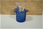 Cobalt Blue Daisy & Button Hat Toothpick Holder