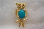 Vintage Gold Toned Owl Brooch With Turquoise Body