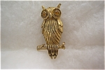 Vintage Gold Toned Owl Brooch