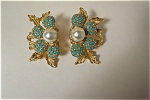Vintage Faux Pearl And Turquoise Cabachons Earrings