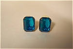 Vintage Blue Baguette Stone Earrings