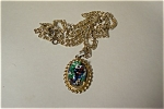 Vintage Gold Link Necklace With Marquee Pendent