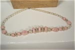 Pink & Opaque Clear Bead Necklace