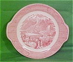 10 1/2 Tabbed Platter Pink Currier Ives Royal China
