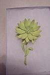 Vintage Chartreuse Enameled & Rhinestone Floral Pin