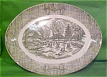 12x9 Oval Platter Currier & Ives Scio Pottery