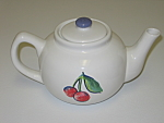 Corning Corelle Fruit Basket Cherries Stoneware Teapot