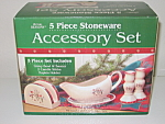 Royal Seasons Snowmen Stoneware 5 Pc Accessory Set