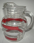 1950's Red & White Striped Glass Pitchers
