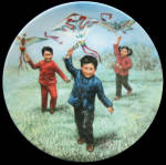 Kite Flying Chinese Children Games Kee Fung Ng Plate