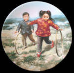 Rolling Hoops Chinese Children Games Kee Fung Ng Plate