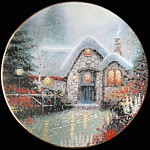 Woodsman's Thatch Cottage: Thomas Kinkade Plate