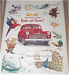 Vintage Print 1947 Ford Car Full Color Ad Rooster, Birds