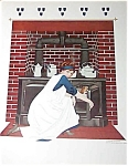 Vintage Coles Phillips Print Lady Cooking Kitchen Antique Stove