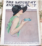 Vintage Print Lady Sipping Tea Magazine Cover Penryhn Stanlaws