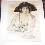 Vintage Print Afternoon Tea Time J Knowles Hare Teacup Lady