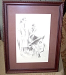 Vintage Drawing Humphrey Bogart Glen Fortune Banse Signed