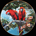 Scarlet Macaws: Exotic Birds, Hack Royal Cornwall Plate