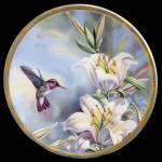 Ruby Throated Hummingbird: Gems Of Nature Pickard Plate