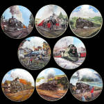 Great American Trains: Full Set Of 8 Plates By Jim Deneen
