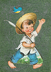 Gone Fishing Boy Mixed Media Childrens Wall Art