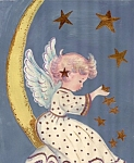 Angel Falling Stars, Crescent Moon Mixed Media Childrens Wall Art