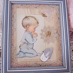 Praying Baby Boy Mixed Media Childrens Wall Art