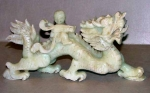 Large Ming Dynasty Jade Carving - Boy Riding Dragon