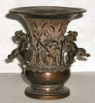 Old Japanese Bronze Relief Vase