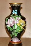 Lovely 8 Inch Black Cloisonne Vase