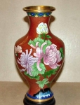 Decorative 8 Inch Rust Cloisonne Vase