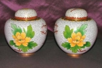 Lovely Pair Of White Cloisonne Ginger Jars
