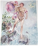 Vintage Print Howard Chandler Christy Warrior Man Leopard