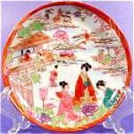 Oriental Porcelain Geisha Saucer - Orange Border