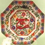 Oriental Octagon Dragon Plate - Porcelain