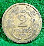 Coin Error - France 1938 - 2 Francs