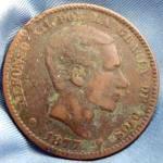 Coin - Spain 10 Centimos - 1877 Bronze - Rare