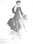 Dogs Antique Art Prints: Victorian Lady Russian Wolfhound