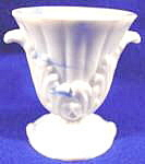 Glass Akro Agate Miniature Vase - Blue And White