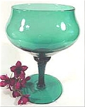 Art Glass Compote - Teal Green - Vintage