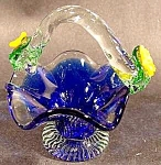 Miniature Art Glass Cobalt Basket - Applied Flowers