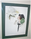 Antique Bird Print Harrison Fisher Lady Feeding Cockatoo