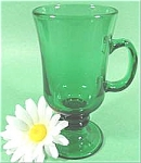 Glass Pedestal Goblets - Teal Green - Set Of 4