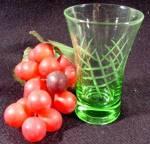 Green Crystal Engraved Glass - Vintage