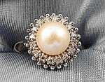 Estate - 14k W.g. Pearl And Diamond Ring - Size 4.5