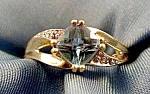 Blue Topaz & Diamond Ring - 10k Y.g. - Size 7