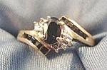 Blue Sapphire & Diamond Ring - 10k Y.g. - Size 6.5