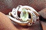 Peridot & Diamond Ladies Ring - 10k Y.g. - Size 6
