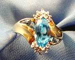 10k Yellow Gold Marquise Blue Topaz Ring - Size 7